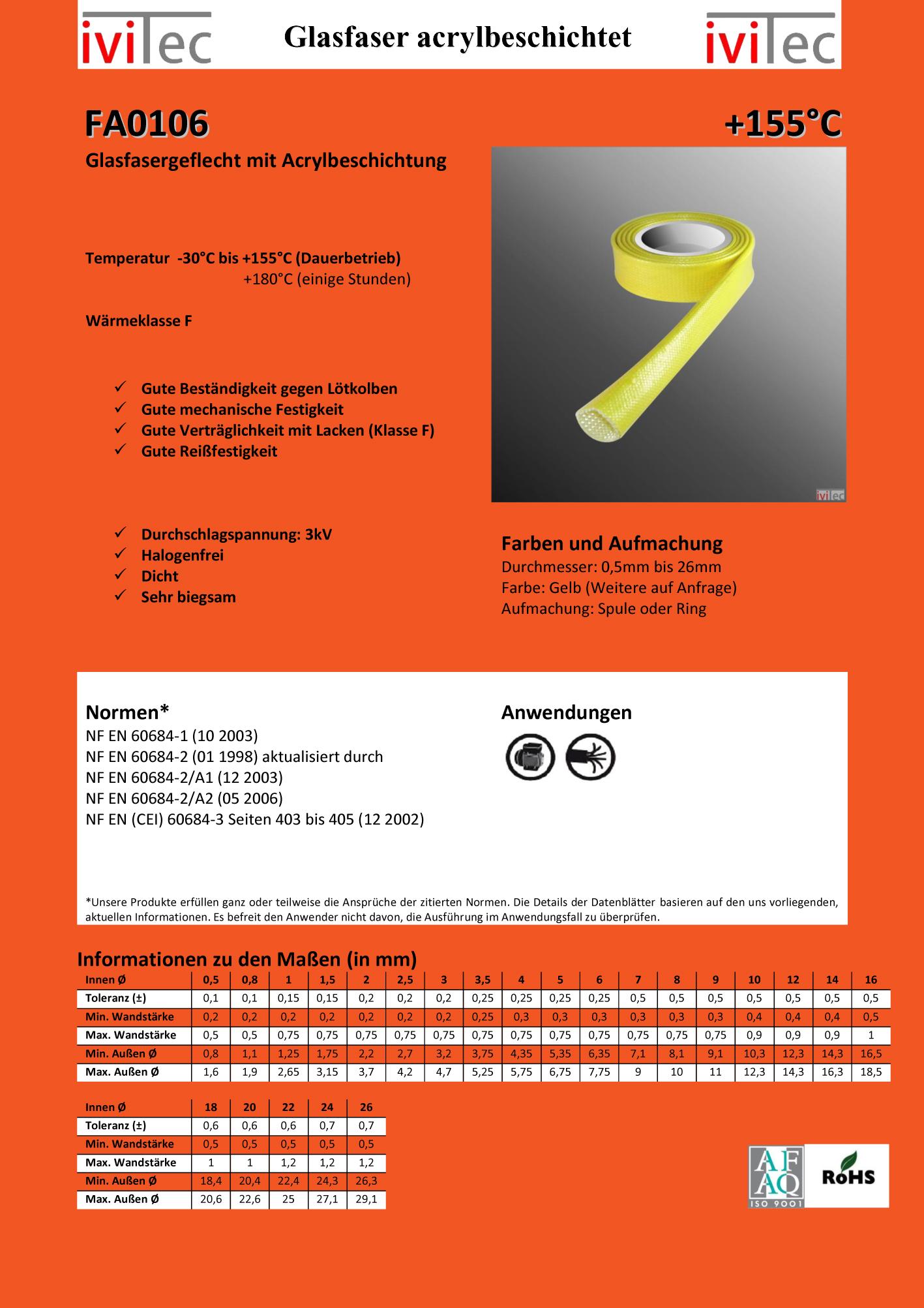 Glasfaser Schlauch Acryl Harz Beschichtung 155° (155°C) 4 und 16 mm ...